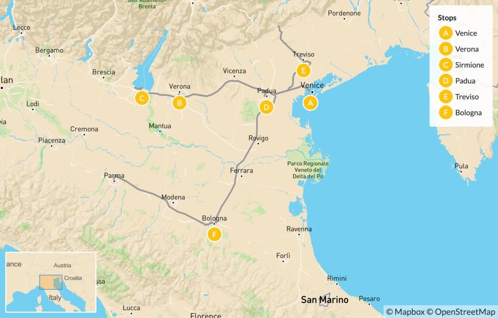 Map of Food & Wine in Verona, Lake Garda, Padua, Treviso & Bologna - 12 Days