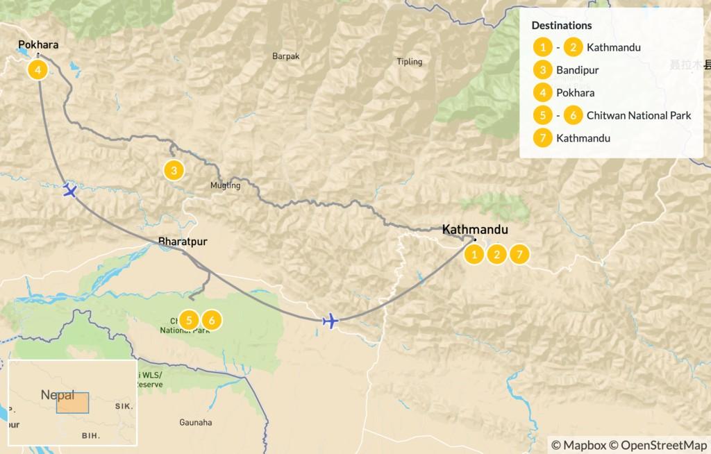 Map of Nepal's Golden Triangle: Kathmandu, Pokhara, & Chitwan - 8 Days