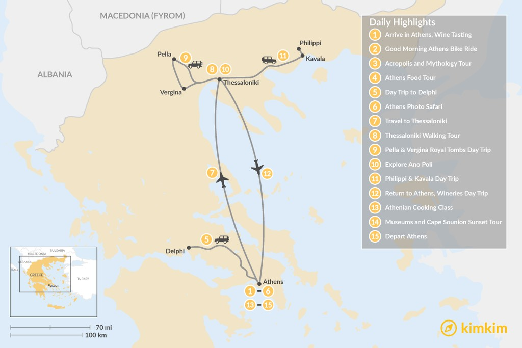 Map of  Urban Adventures and History in Athens & Thessaloniki - 15 Days