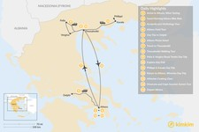 Map thumbnail of  Urban Adventures and History in Athens & Thessaloniki - 15 Days