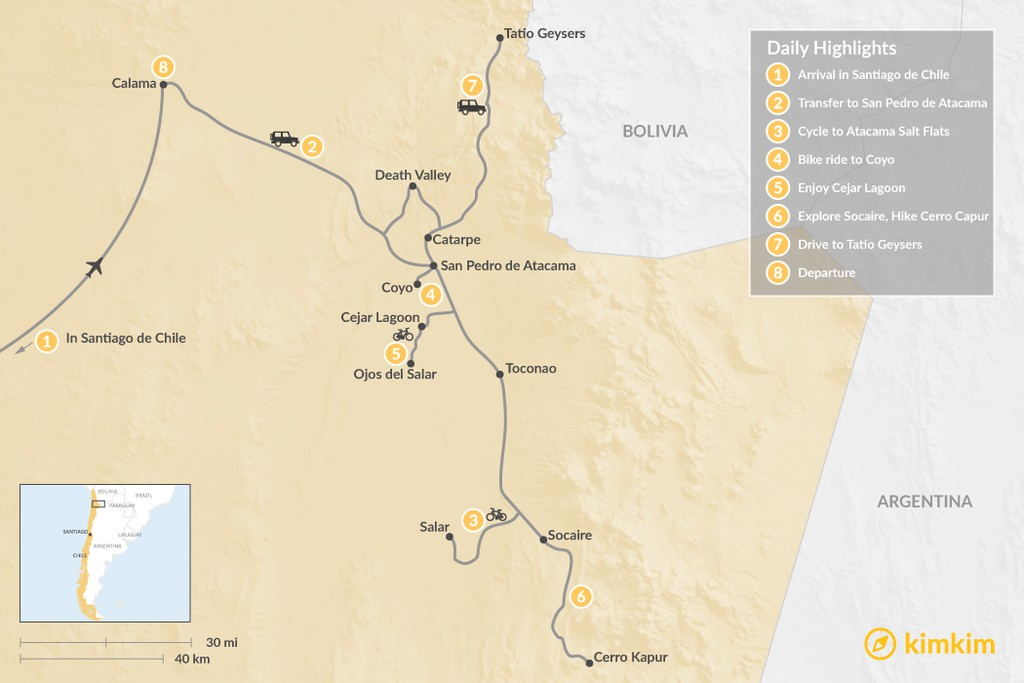 Map of Cultural Bike & Hike Trip at Atacama Desert - 8 Days