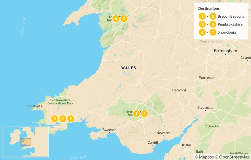 Map of Nature & History in Wales - 7 Days