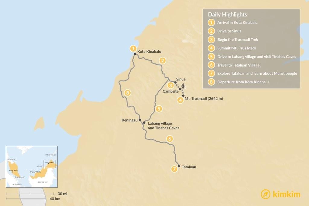 Map of Climb Mt. Trusmadi & Explore Sapulot  - 8 Days
