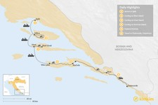 Map thumbnail of Self-Guided Cycling Tour: Split to Dubrovnik - 6 Days