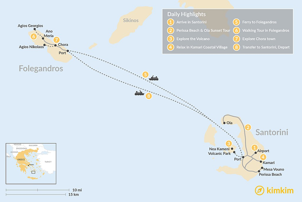 Map of Santorini & Folegandros - 8 Days