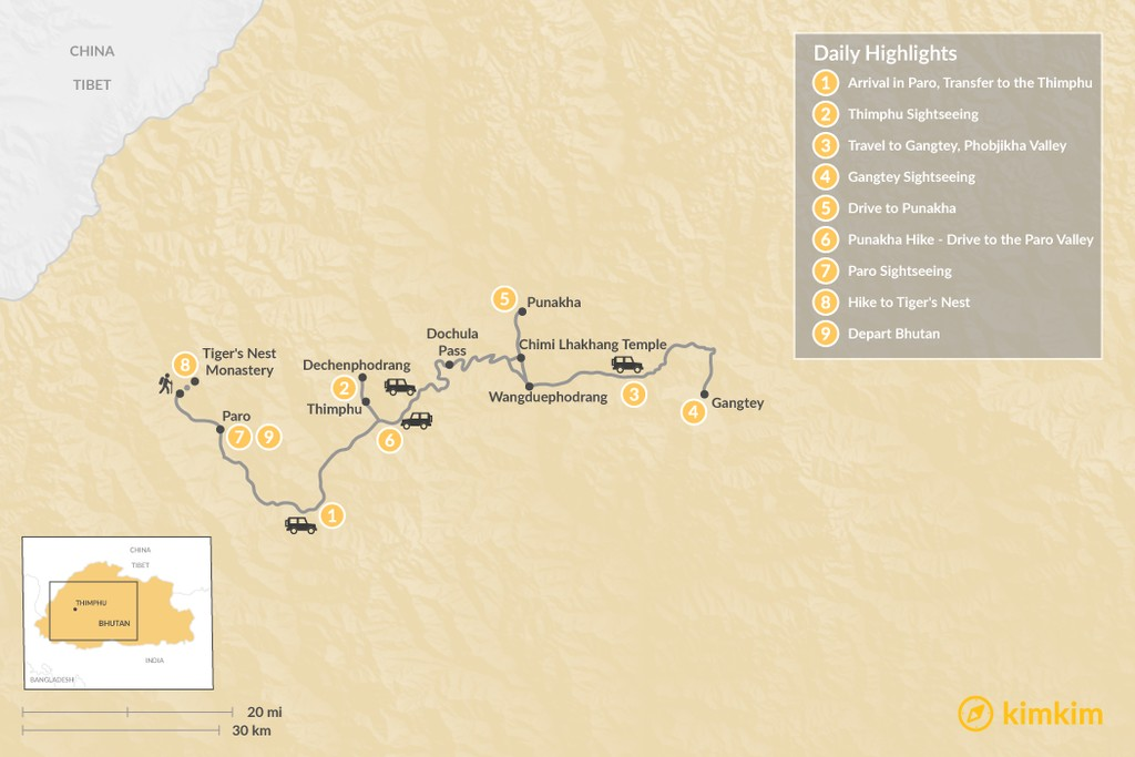 Map of Best of Bhutan - 9 Days