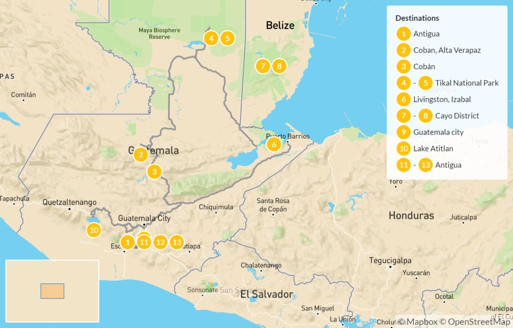 Map of Guatemala and Belize: Ruins, Reefs & Cobblestone Streets - 14 Days