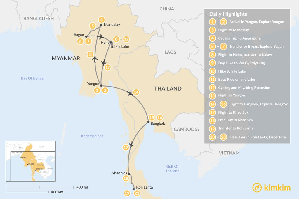 Map of Highlights of Myanmar & Thailand - 22 Days