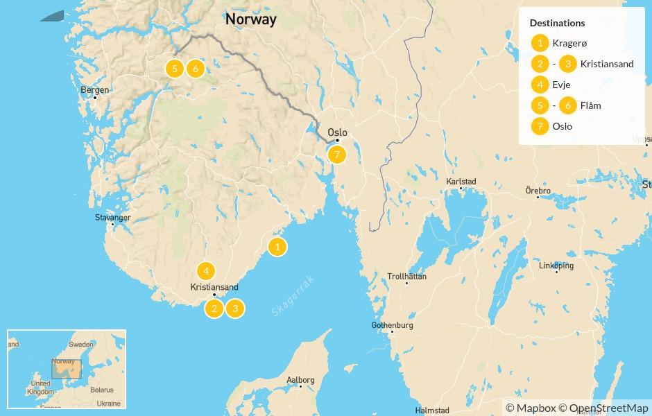 Map of Norway Road Trip: Kragerø, Kristiansand, Evje, Flåm, and Oslo - 8 Days