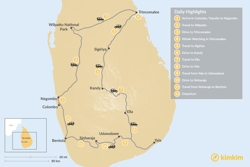 Map of Honeymoon in Sri Lanka - 12 Days