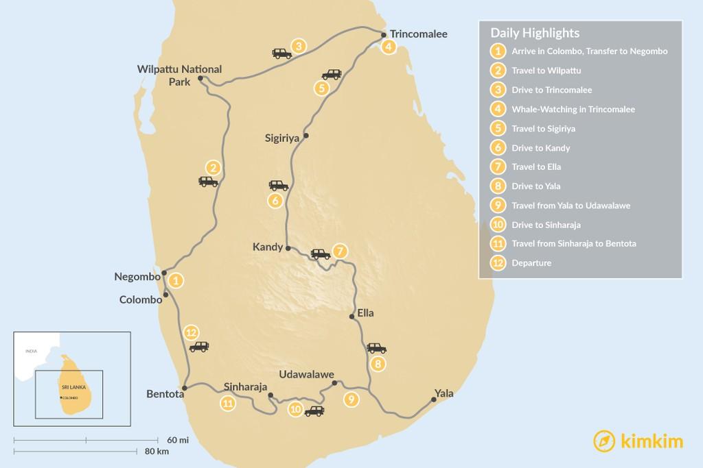 Map of Honeymoon in Sri Lanka - 12 Days