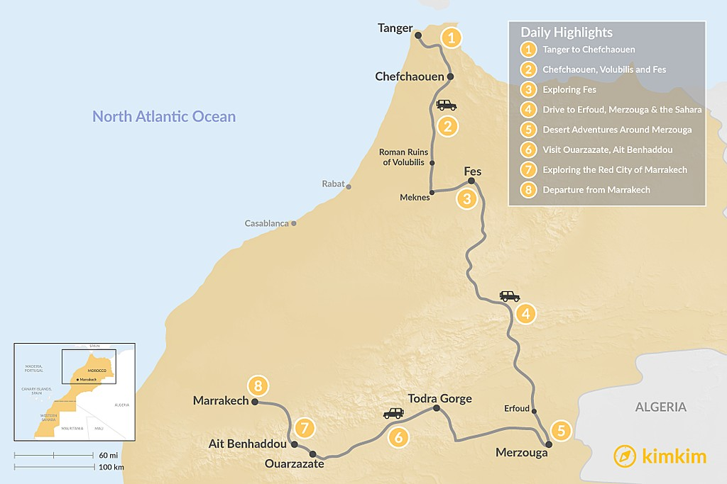 Map of Tangier to Marrakech via the Desert - 8 Days