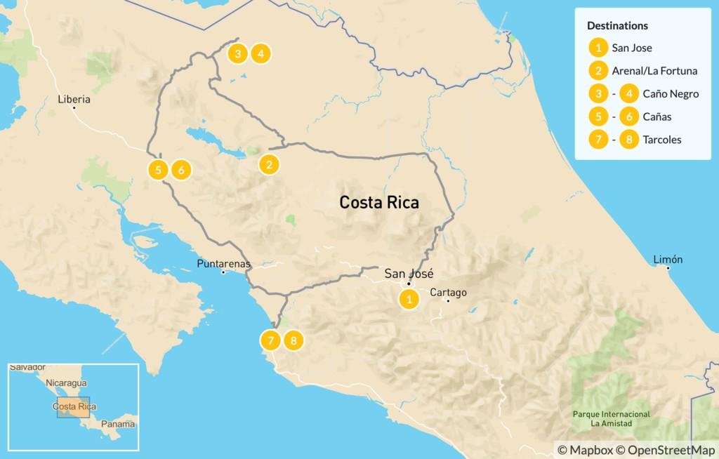 Map of Birding Highlights of Costa Rica - 9 Days