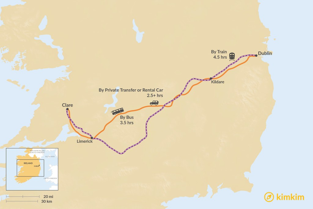 Map of How to Get from Dublin to County Clare
