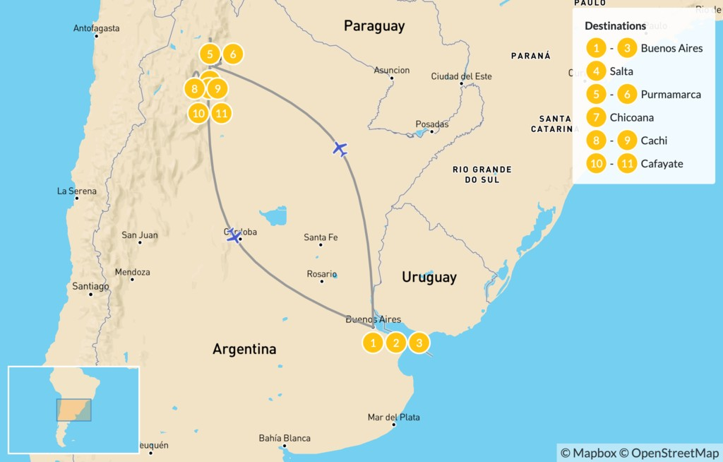 Map of Explore Northern Argentina - 12 Days
