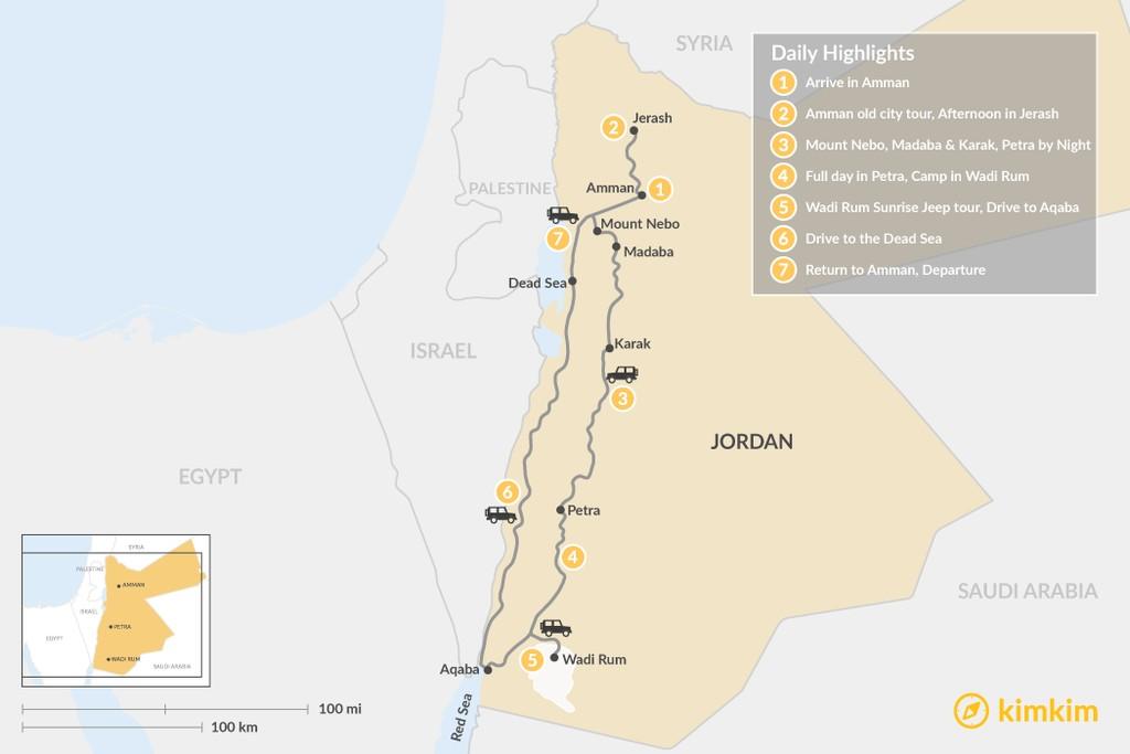Map of Discover Jordan: Petra, Wadi Rum, Dead Sea  - 7 Days