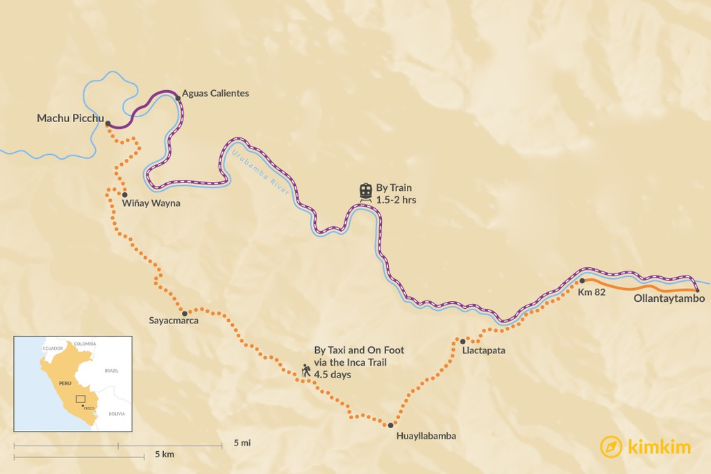 Map of How to Get from Ollantaytambo to Aguas Calientes