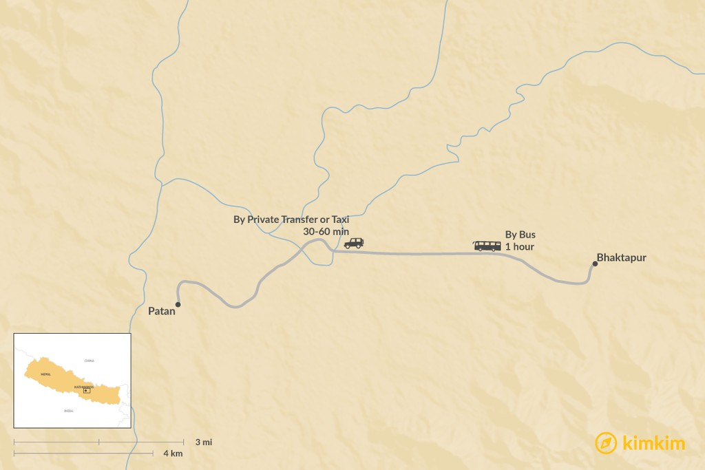 Map of How to Get from Bhaktapur to Patan
