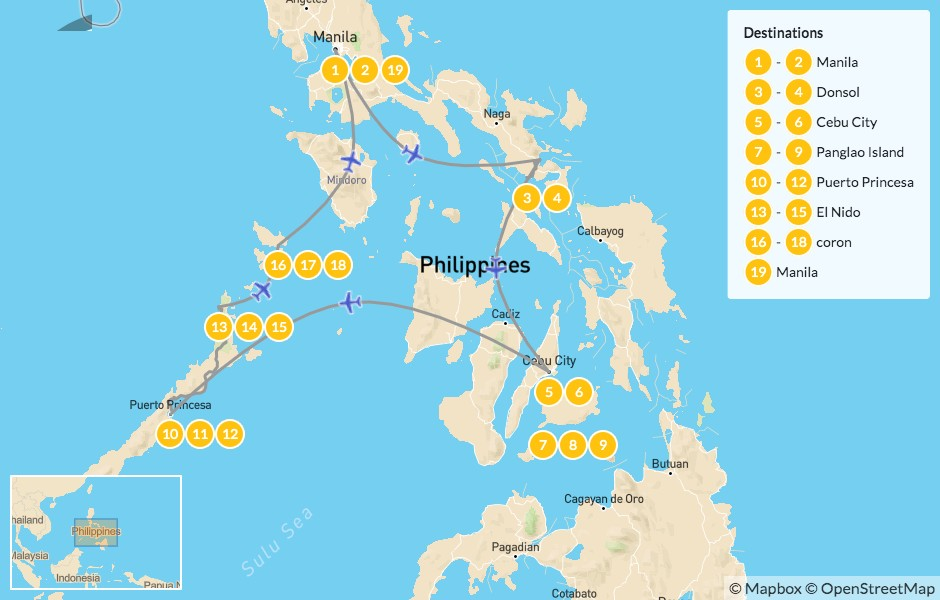 Map of Island Hopping in the Philippines: Manila, Donsol, Cebu & Palawan - 20 Days