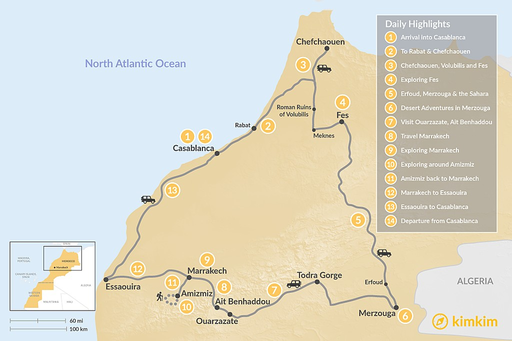 Map of Morocco Grand Tour: Cities, Mountains, and Desert - 14 Days
