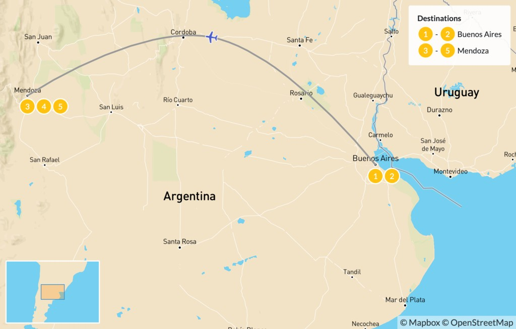 Map of Argentina's Wine Country - 6 Days