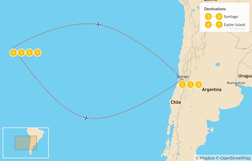 Map of Santiago, Valparaíso, & Easter Island - 8 Days