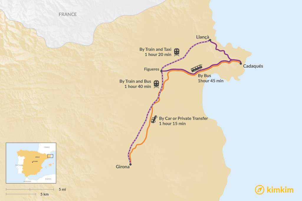 Map of How to Get from Girona to Cadaqués