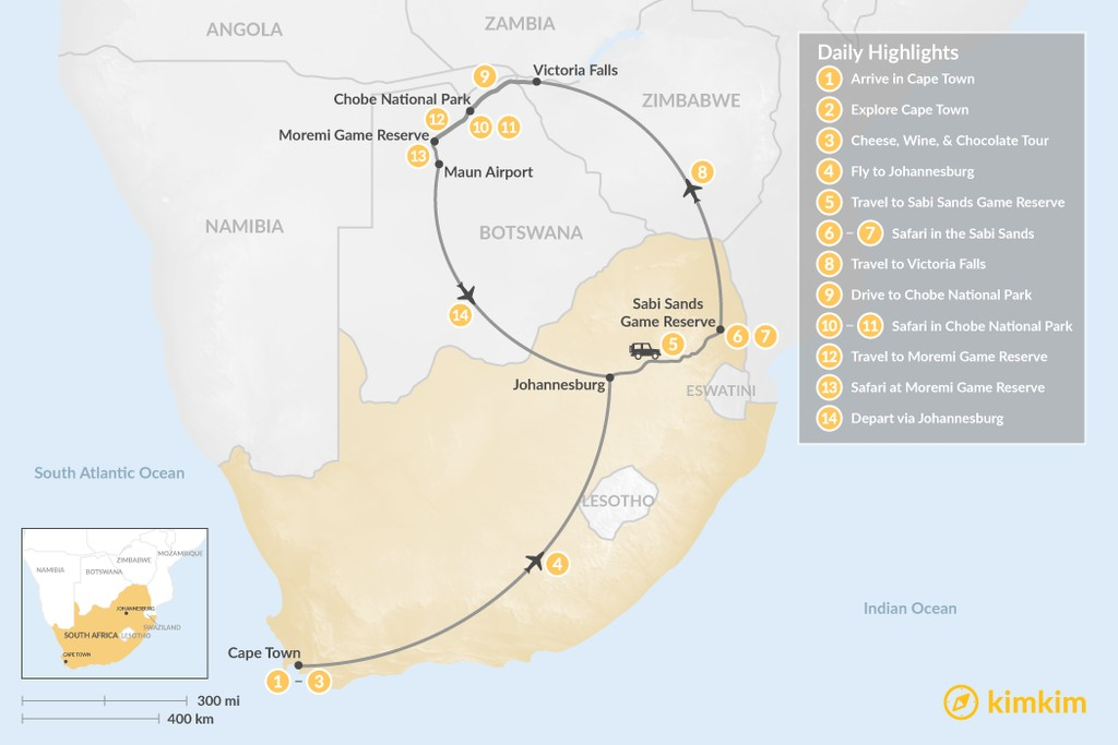 Map of Southern Africa Safari: Cape Town, Victoria Falls, Chobe National Park, & More - 14 Days