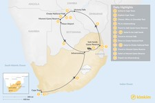 Map thumbnail of Southern Africa Safari: Cape Town, Victoria Falls, Chobe National Park, & More - 14 Days