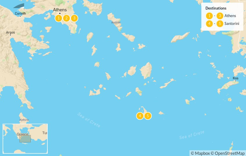 Map of Taste of Athens & Santorini - 6 Days