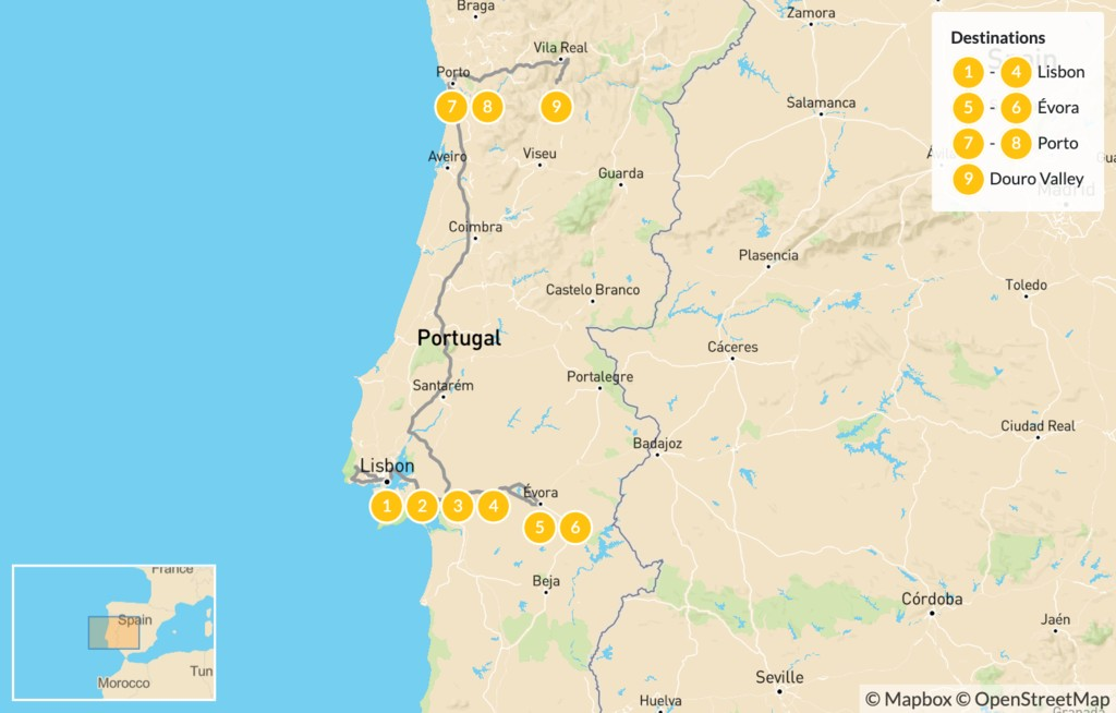 Map of Food and Wine in Portugal: Lisbon, Porto, Évora, Douro Valley - 10 Days
