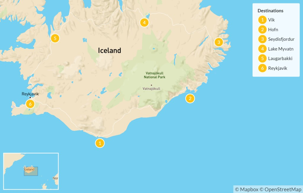 Map of Classic Iceland Ring Road Drive - 7 Days