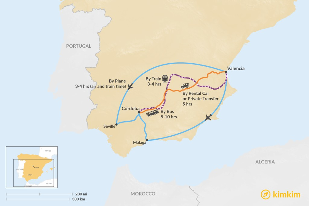 Map of How to Get from Valencia to Córdoba