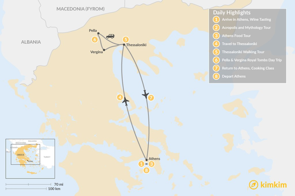 Map of Urban Adventures and History in Athens & Thessaloniki - 8 Days