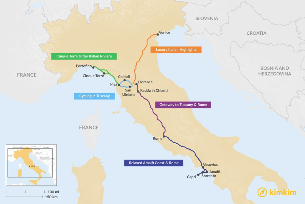 Map of 6 Days in Italy - 5 Unique Itinerary Ideas