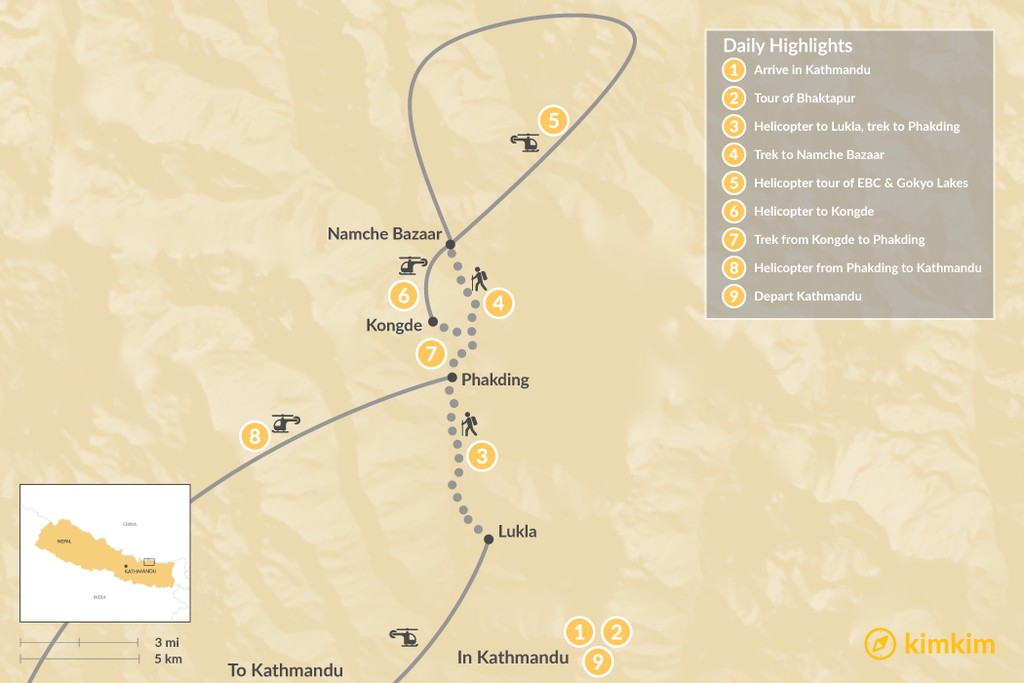 Map of Luxury Kongde Trek & Heli Tour - 9 Days