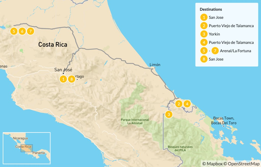 Map of Costa Rica Indigenous Experience, Farm Life & Arenal Volcano - 9 Days