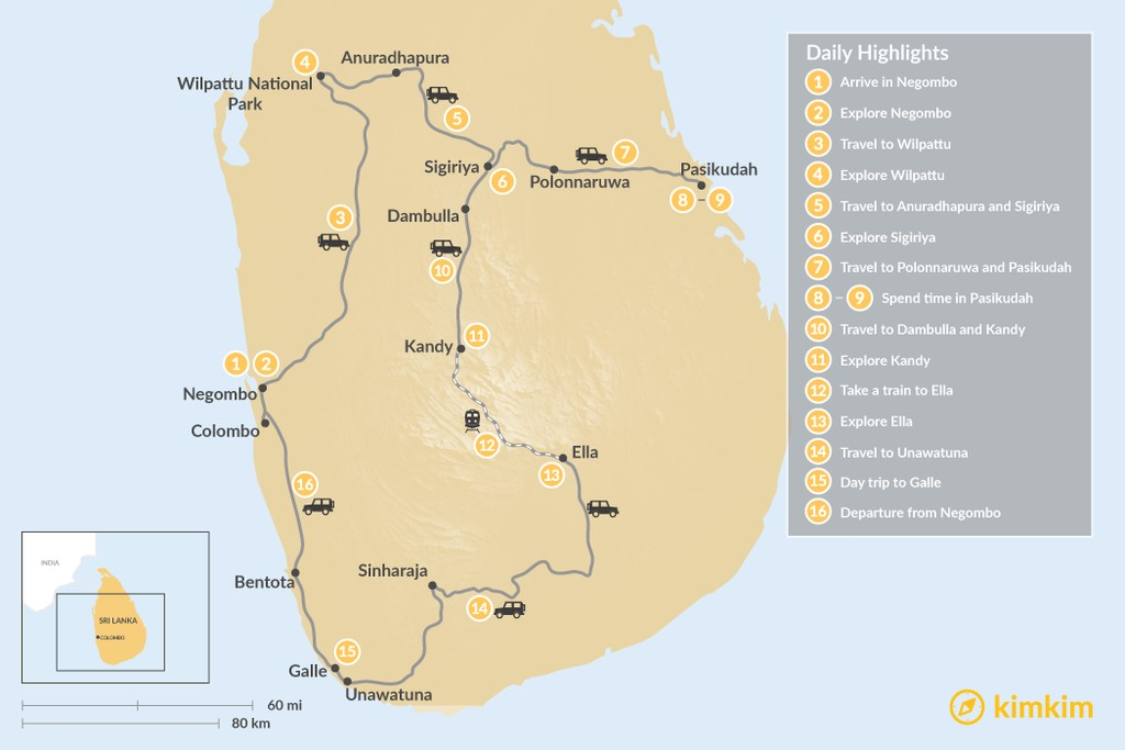 Map of Ancient History and Pristine Beaches in Sri Lanka - 16 Days