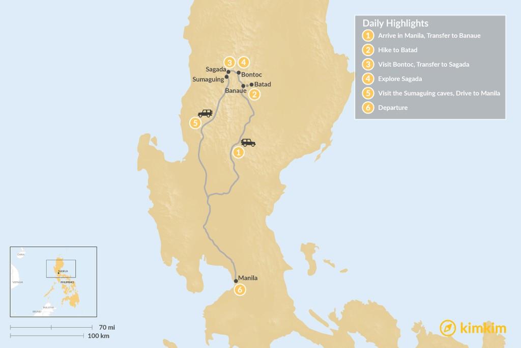 Map of The Cordillera: Banaue, Batad & Sagada - 6 Days
