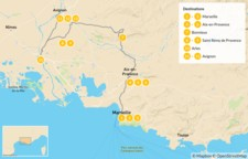 Map thumbnail of France Road Trip: Ultimate Self-Drive Tour of Provence - 14 Days