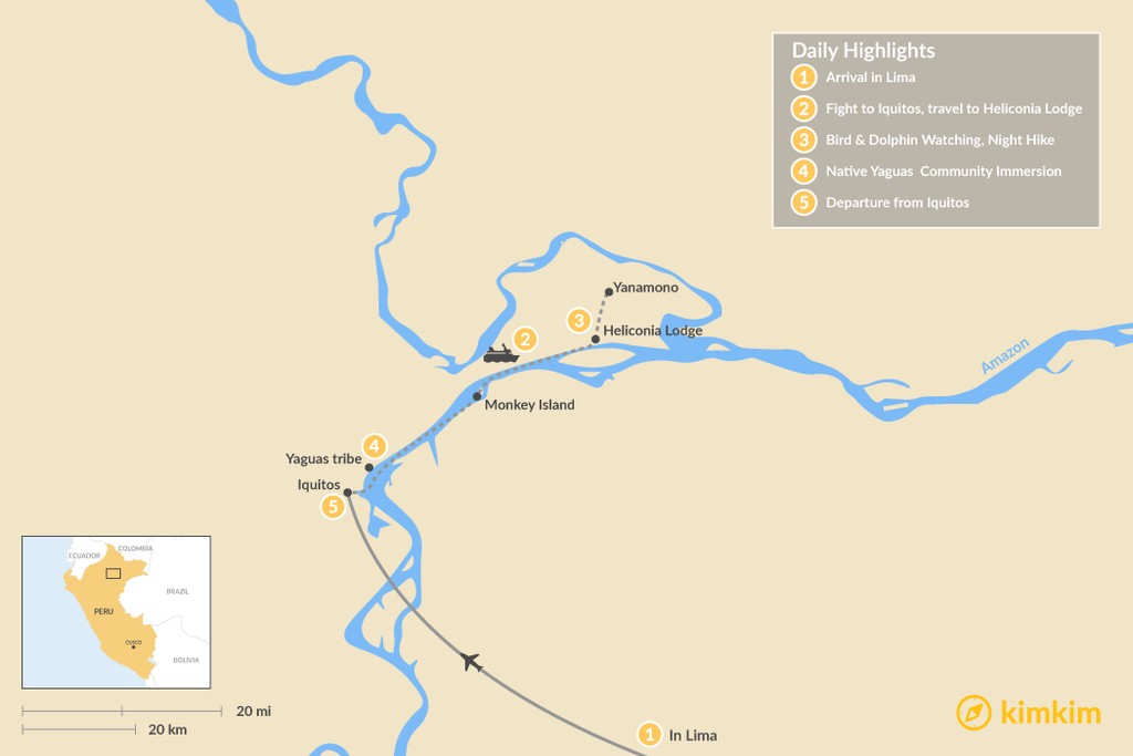 Map of Discover the Peruvian Amazon - 5 Days