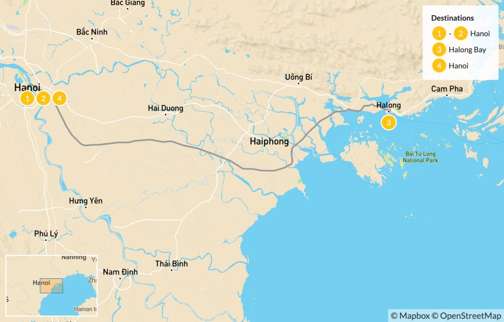Map of Highlights of Northern Vietnam: Hanoi & Ha Long Bay - 5 Days
