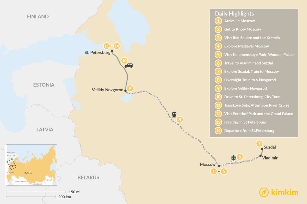 Map of Russian Capitals & Golden Ring Tour - 14 Days