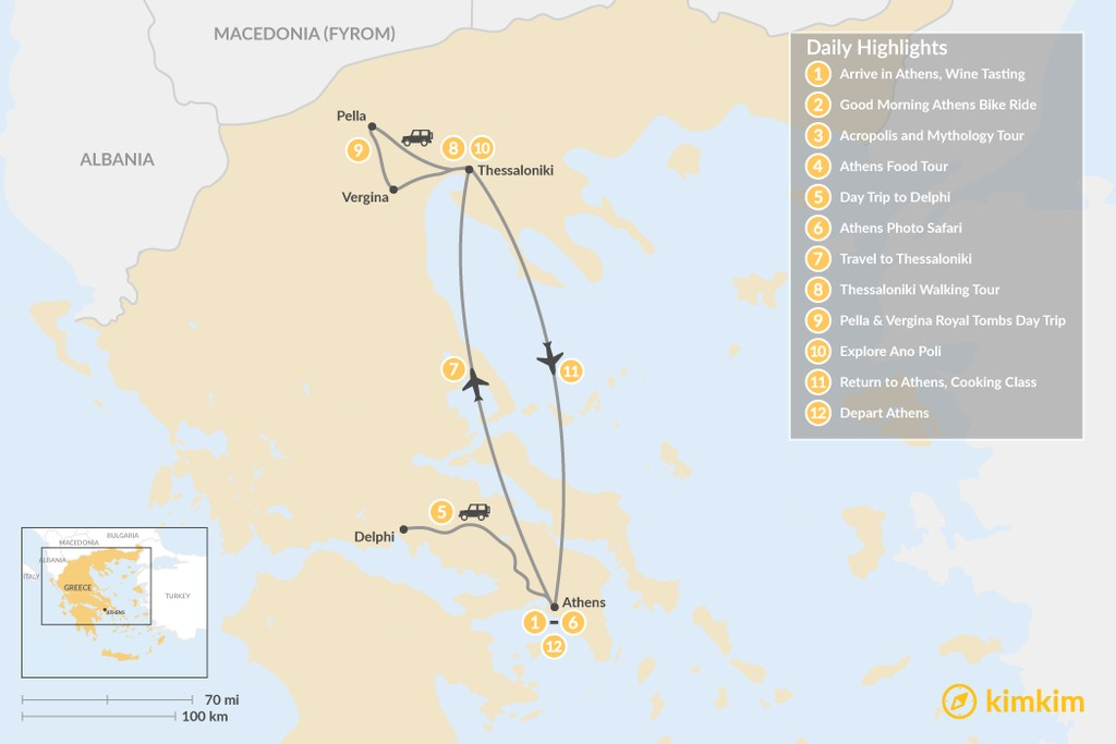 Map of Urban Adventures and History in Athens & Thessaloniki - 12 Days