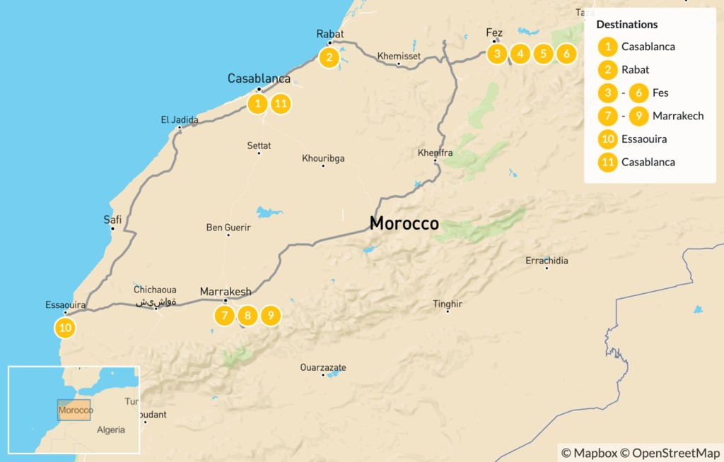 Map of Discover Morocco: Imperial Cities to the Atlas Mountains and the Coast - 12 Days