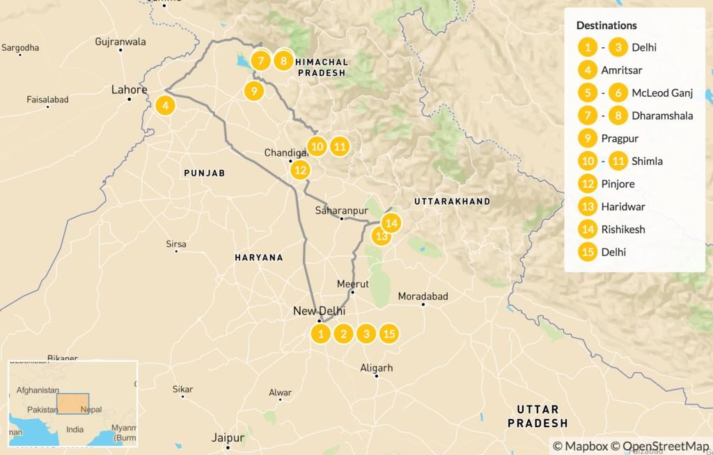 Map of Spirit of India Adventure - 16 Days