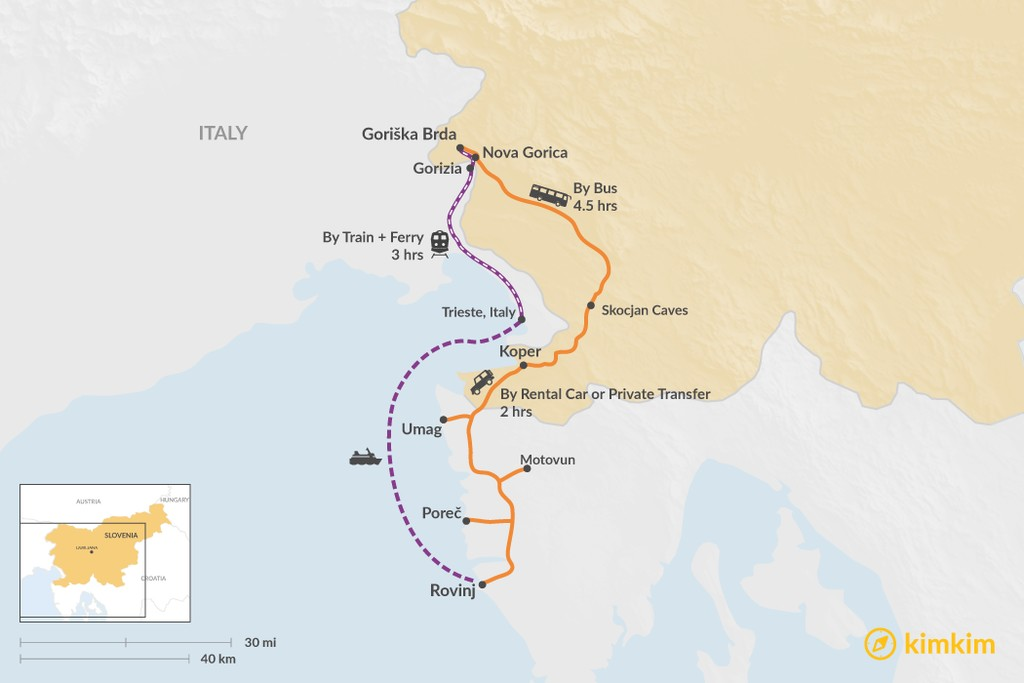 Map of How to Get from Goriška Brda to Rovinj