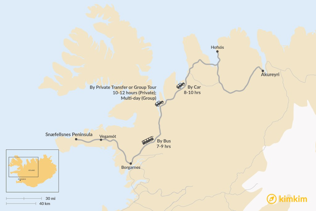 Map of How to Get from the Snæfellsnes Peninsula to Akureyri