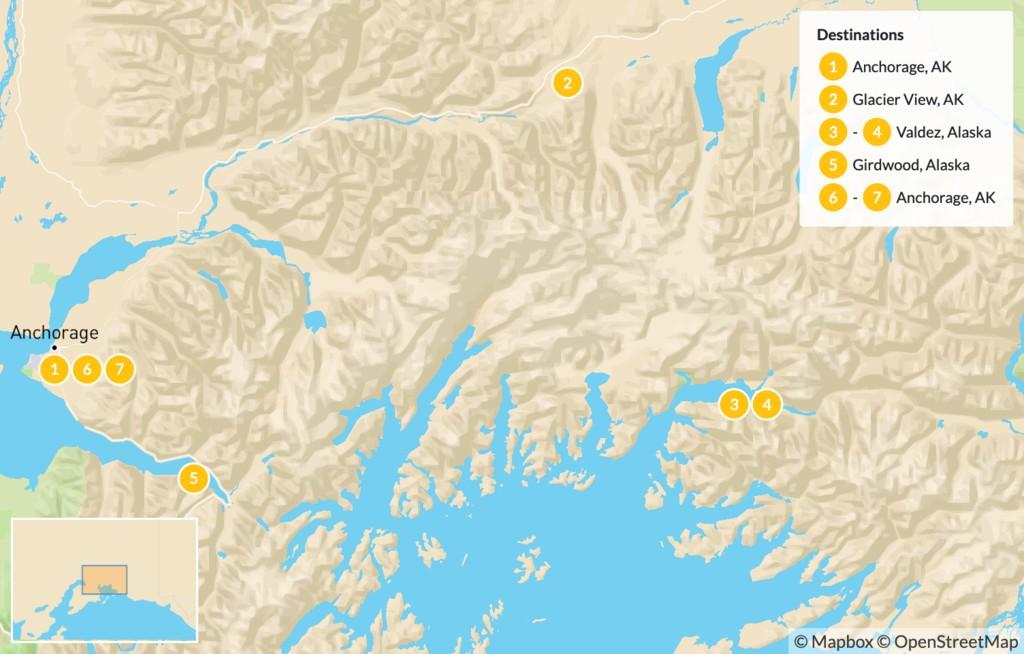 Map of Alaska Chugach Traverse - 8 days