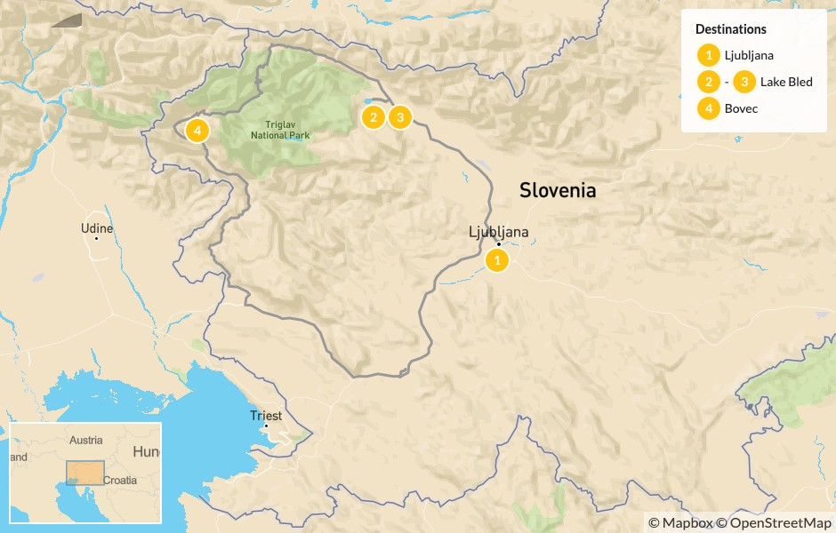 Map of Slovenia's Great Outdoors: Ljubljana, Lake Bled & Bovec - 5 Days